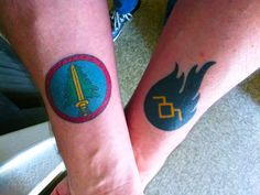 Twin Peaks tattoos: Bookhouse Boys logo & Owl Cave petroglyph (i know this guy)