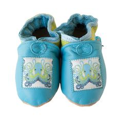 Octopus baby shoes in allnatural leather ocean blue by cadeandco, $34.00
