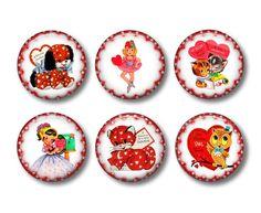 Valentine's Day Refrigerator Magnets Flat Backs Set of 6 pcs -Collection No.2