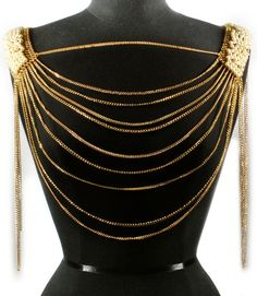 Beautiful Layered Gold Chain & Pearl, Body Length Necklace. $36.00, via Etsy.
