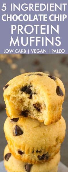 5 Ingredient Paleo Vegan Chocolate Chip Protein Muffins #LowCarb