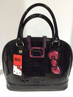 Hello Kitty Sanrio Loungefly Black Embossed Double Handle Patent Tote Bag  NWT 780caca0fbb8b