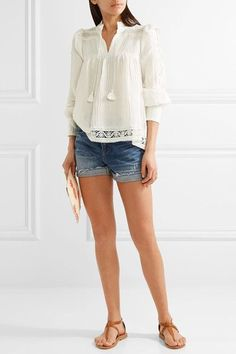 SEA - Lace-trimmed Crinkled-gauze Blouse - Ivory - US10