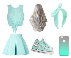 """Aqua outfit"" by hazza6705 ❤ liked on Polyvore featuring Ally Fashion, FAUSTO PUGLISI, Converse and Forever New"