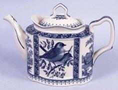 Porcelain Teapot Blue Toile Bird Portraits Nature