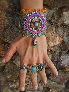 Festival of Colors BUDDHA cuff BRACELET Tribal native by GPyoga, $108.00