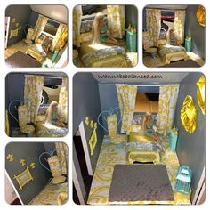 This is my latest project. We bought an old Barbie house at a yard sale and I've been renovating it. Here's one room I just finished. The bed is made from a plastic meat container. The chair was actually a wall candle holder. It was a no sew and hot glue project. My favorite way to go cause its fast and easy.