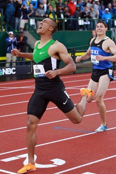 Ashton Eaton reacts after breaking the world record in the men's decathlon after competing in the 1500 meter run portion during Day Two of the 2012 U.S. Olympic Track & Field Team Trials at Hayward Field on June 23, 2012 in Eugene, Oregon. (Photo by Andy Lyons/Getty Images)