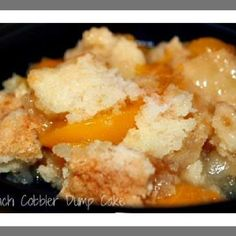 To make this easy cobbler use one 29 ounce can of peaches plus juice. Pour into the bottom of an oblong pan. Pour a box of yellow cake mix on top of thus. Melt 1/2 cup of butter and pour it on top. Bake for 45-50 minutes at 325 degrees.