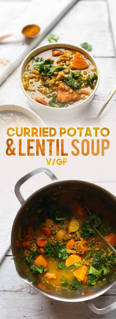 1-pot Curried Lentil Soup with carrots, potatoes, and kale! A hearty, comforting soup with tons of plant-based protein and fiber.