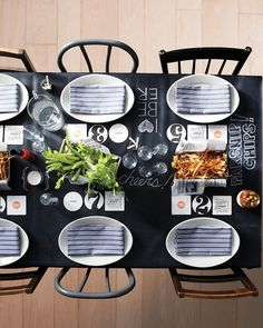 chalk runner/tablecloth [great for family-style meals!] (from Living mag)