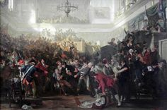 """Robespierre at the Convention on 9 Thermidor,"" Max Adamo. Maximilian Robespiere was responsible for the Reign of Terror during the French Revolution which killed 40,000 people. These people were all executed mainly by guillotine. Source http://www.militar.org.ua/foro/la-pintura-y-la-guerra-sursumkorda-in-memoriam-t18709-3465.html"