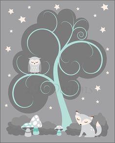Aqua Blue and Gray Fox/Woodland Nursery Print  8x10 by LJBrodock, $10.00