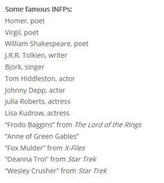 "Famous INFPs - Homer (poet),  Virgil (poet),  William Shakespeare (poet),  J.R.R. Tolkien (writer),  Björk (singer),  Tom Hiddleston (actor),  Johnny Depp (actor),  Julia Roberts (actress),  Lisa Kudrow (actress), ""Frodo Baggins"" from The Lord of the Rings, ""Anne of Green Gables"",  ""Fox Mulder"" from X-Files, ""Deanna Troi"" from Star Trek, ""Wesley Crusher"" from Star Trek - :D"