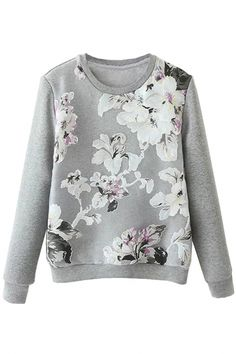 #Graceful Floral Pattern Organza #Sweatshirt - OASAP.com ¯`•.❤ Free Shipping Worldwide + Up to 85% Off Holiday Deals