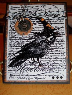 Halloween Card - The Raven - Nevermore - Edgar Allen Poe Poem - Spooky Charm - by tinkerbellshop on Etsy Halloween Doodle, Halloween Tags, Halloween Themes, Fall Halloween, Halloween Crafts, Halloween Decorations, Halloween Lanterns, Halloween Scrapbook, Rabe