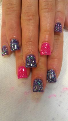 Pink and purple glitter acrylics