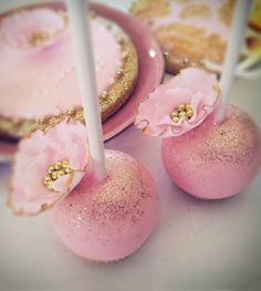 Pink and Gold Cake Pops Wedding Favors | Coral, Blush Pink and Gold Winter Wedding Inspiration