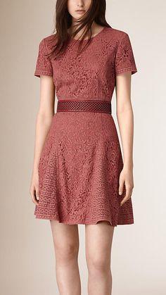 Mauve pink Italian Lace A-line Dress - Burberry