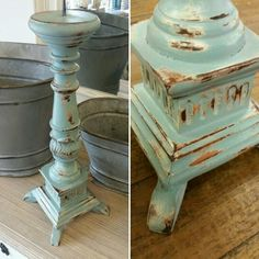 Annie Sloan chalk painted candlestick.  Primer red, Barcelona Orange, Cream, Provence and Duck Egg Blue, layered, wet rag distressed and clear waxed.