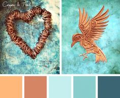 Add a splash of vivid and sparkling life to your projects with this Copper & Teal color inspiration.