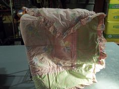 Shabby Chic, Spring Colors, Ruffled Baby Crib Quilt