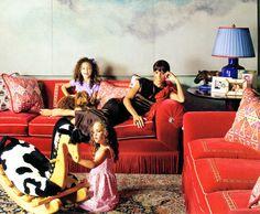 Luscious oversized sofas with bullion fringe skirts, love the pattern on the…
