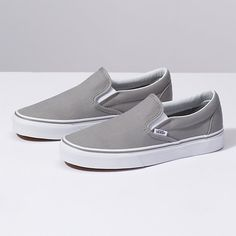 Shop Women's Vans Gray size Sneakers at a discounted price at Poshmark. Description: Vans Classic Slip On Sneakers (Wild Dove/True White). Women's Shoes, Cute Shoes, Me Too Shoes, Shoes Style, Vans Shoes Outfit, Vans Shoes Fashion, Dance Shoes, Grey Slip On Vans, Grey Vans