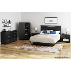 Bedtime Story Queen-Size Platform Bed in Pure Black