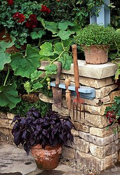 "Check out the hanging ""Garden Tool Holder"", what a great interior decorating before and after Garden Gates, Herb Garden, Garden Tools, Garden Guide, Herb Pots, Purple Garden, Garden Photos, Growing Herbs, Edible Garden"