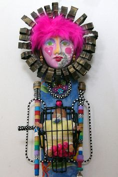 Price slashed 75% BABY ON BOARD Recycled FuNkY found object sculptures mixed media