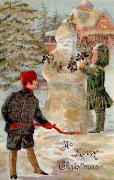 """""""A Merry Christmas"""". Santa style Snowman."""