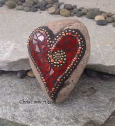 Red and Gold Heart Mosaic Rock Paperweight / Garden Stone