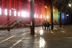 """Hundreds of Wind Chimes Hang From a Rainbow of Ribbons - """"Knock on the sky listen to the sound"""" by artist Tiffany Singh - (via My Modern Metropolis)"""