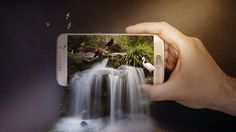 3D Waterfall On Mobile(3D Pop Out Effect) Photo Manipulation In Photosho...