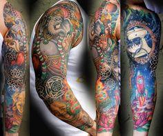 Tattoo sleeve colorful buddha