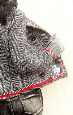 Boho Hippie, Bohemian, Herringbone Jacket, Sweatshirt Makeover, Recycled Fashion, Recycled Clothing, Moda Boho, Altered Couture, Tweed Jacket