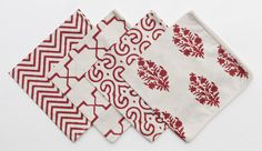 Madeline Weinrib Nantucket Red Blockprint Napkins in Chevron, Brooke, Ivy, and Keri