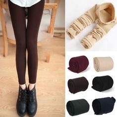 Calientan Los Pantalones De Invierno Flaco Polainas Delgadas Estrías Nuevas Mujeres Grueso Footless Tights