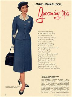 Grooming Tips from Grace Downs Model and Air Career Schools, ca. 1957