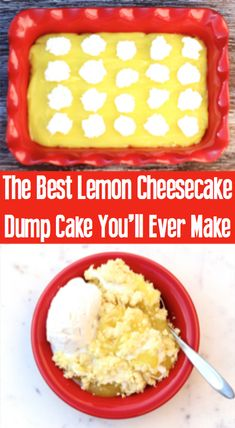 Whether you want a citrusy dump cake or cobbler, this Lemon Cheesecake Dump Cake Recipe is sure so satisfy your cravings! Oreo Cheesecake, New York Cheesecake Rezept, Easy Lemon Cheesecake, Easy Cheesecake Recipes, Easy Cookie Recipes, Easy Recipes, Lemon Recipes, Frosting Recipes, Pumpkin Recipes