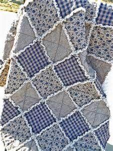 Rag Quilt Floral and Homespun Lap Quilt Blue Ecru Vintage