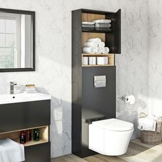Tate Anthracite Oak tall back to wall toilet unit