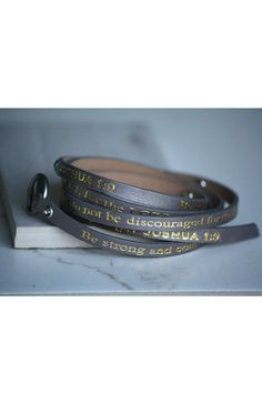 Good Works(s) Grey Leather wrap around bracelet with stones with gold Joshua 1:9 inscription