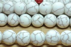 32 pcs of White Turquoise matte round beads in 12mm (04592#)