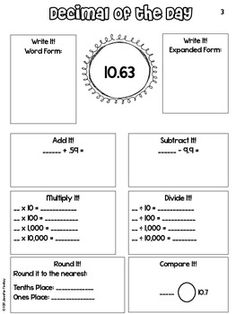 Decimal of the Day Packet . Adjust grade - fractions and decimals Math Strategies, Math Resources, Math Activities, Fraction Activities, Math Games, Math Teacher, Math Classroom, Teaching Math, Teaching Decimals