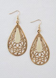 Teardrop Dangly Earrings #teardrop #dangly #ivory #earrings #kieus