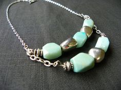 Statement Bib Necklace Tiffany Blue and Silver by leftcoastlovers, $25.00