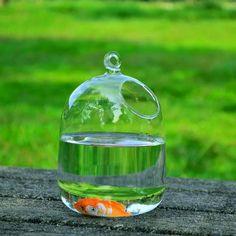 Dollhouse Miniature Cute Transparent Glass Jar Fishbowl Bank Flower pot LE