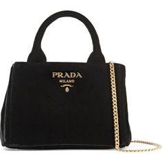 Prada Garden mini velvet tote ($1,265) ❤ liked on Polyvore featuring bags, handbags, tote bags, black, prada tote bag, handbags totes, chain strap purse, mini purses and prada tote